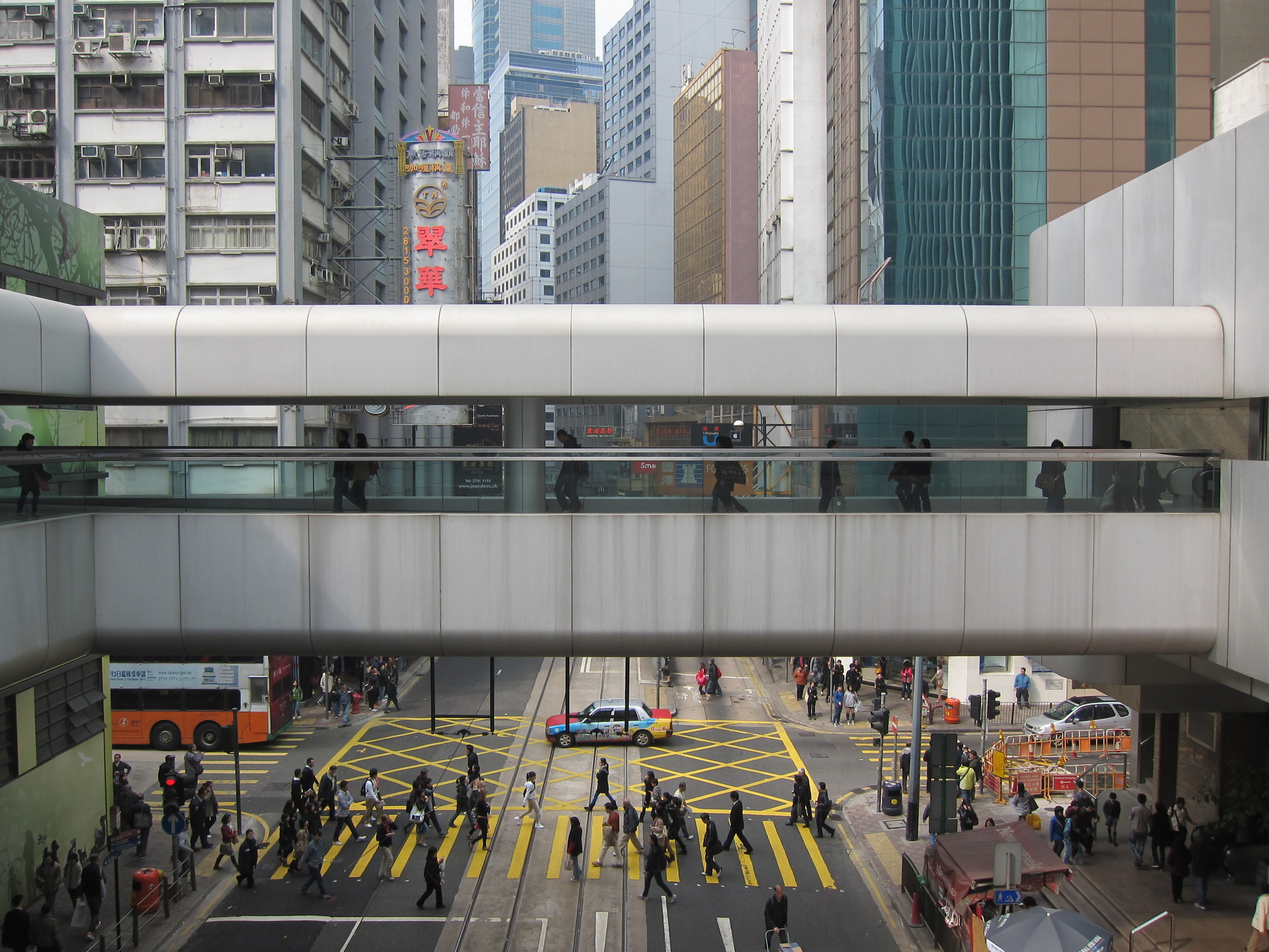 Crafting Urban Life in Three Dimensions: An Interview with Adam Snow Frampton by James Schrader, Footbridge in Central, Hong Kong. Image by Adam Frampton