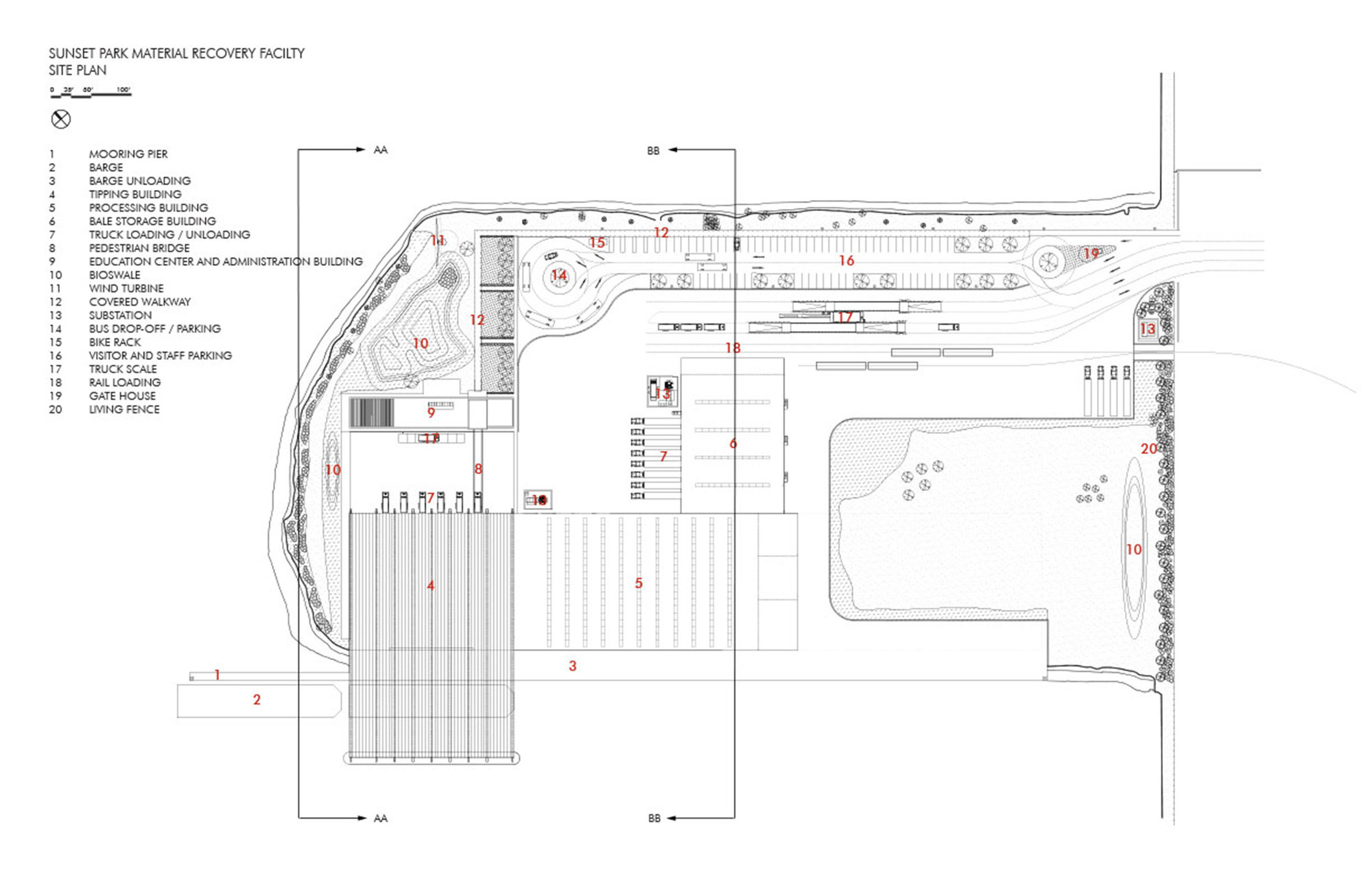 Sunset park material recovery facility selldorf for Site floor plan