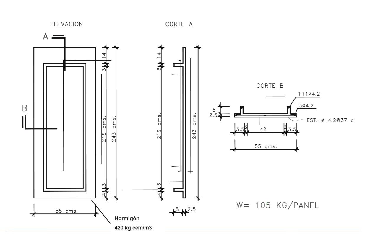 Dimensiones Panel Exterior. Ferrocemento / Cementos Bio Bio