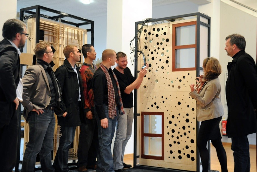 Students from TU Delft and OWL present their facade mock-up. Image Courtesy of Pillars of Sustainable Education