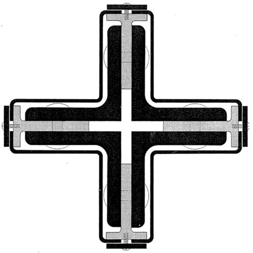 Sección transversal Pilar en cruz Pabellón alemán Expo Barcelona (1929)