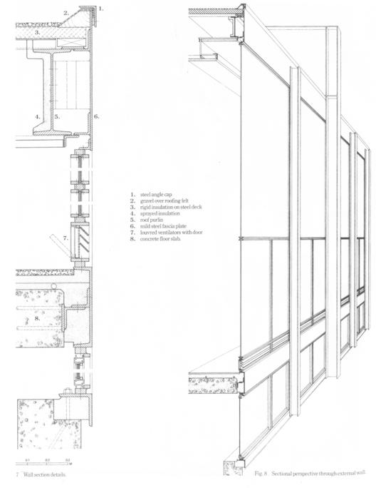 Detalle y Corte fugado Crown Hall del Instituto (1956)