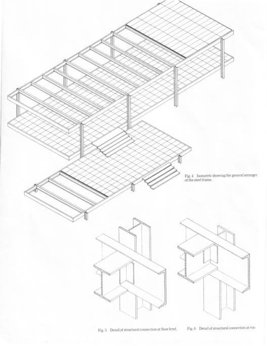 Detalle estructura Casa Farnsworth (1946)