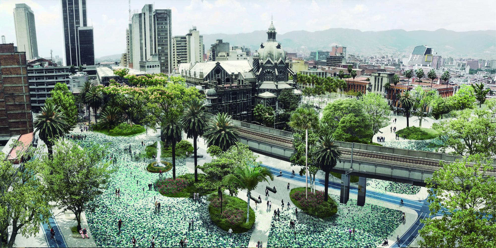 Vista de Santa Helena y la plaza de Botero. Image Courtesy of L-A-P + OPUS