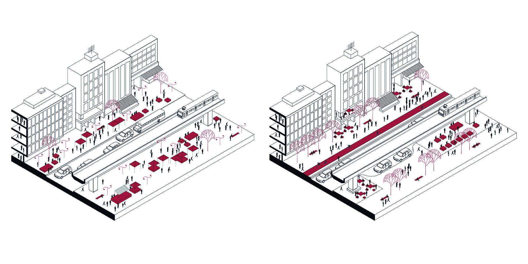 Situación actual y propuesta. Image Courtesy of L-A-P + OPUS
