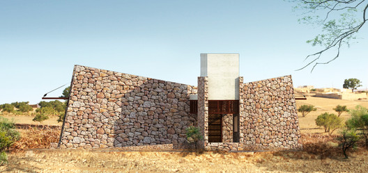 Power of idea - lightening - House in Barren land . Image Courtesy of mayaPRAXIS