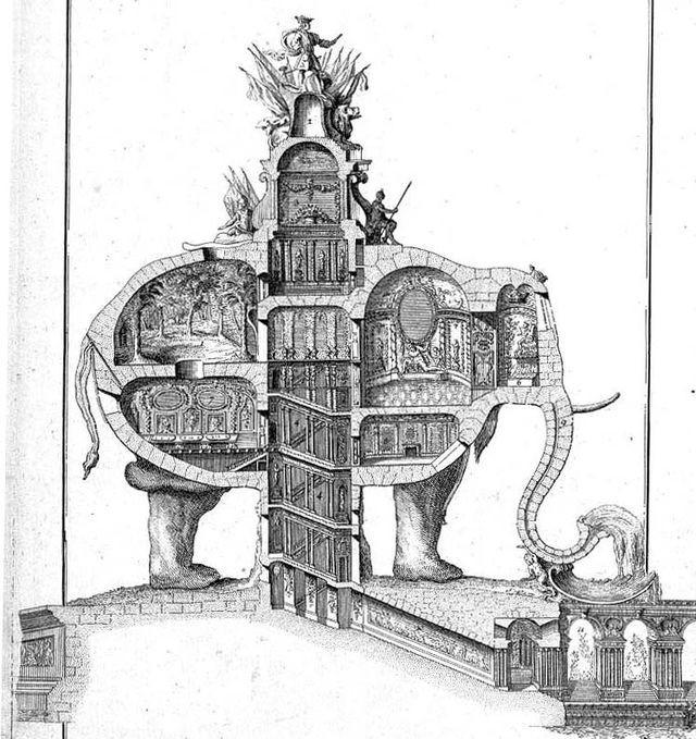 """""""El Elefante Triunfal"""" (1758) de Charles Ribart"""