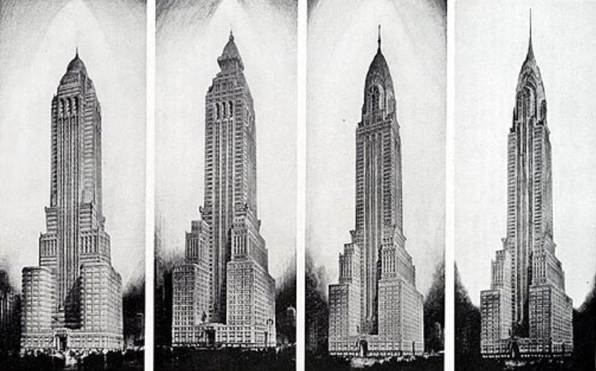 4 diseños alternativos del Edificio Chrysler de Nueva York