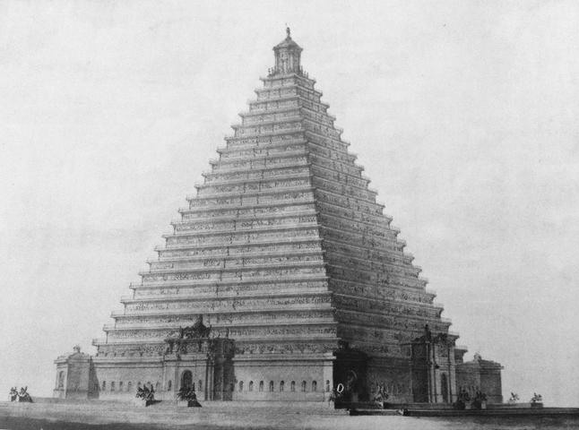 La enorme pirámide propuesta para la Trafalgar Square en 1815