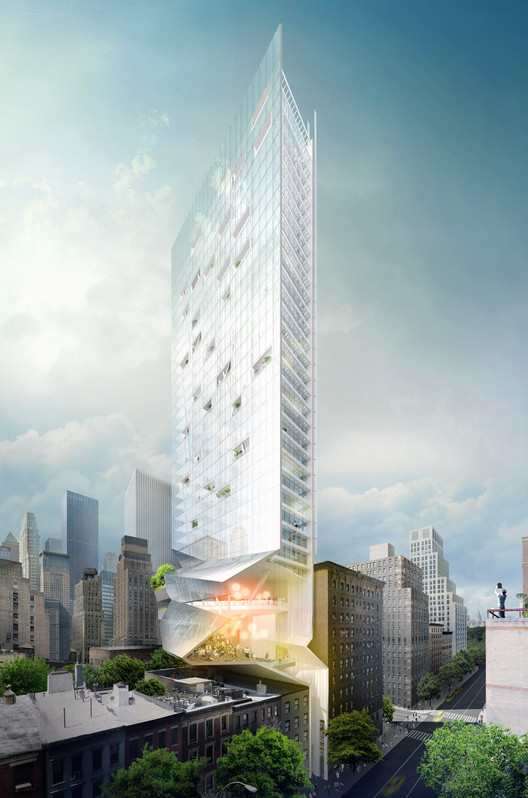 Proposal for New York Skyscraper Cantilevers Lobby Over Its Neighbors, Section Rendering. Image © Fundamental
