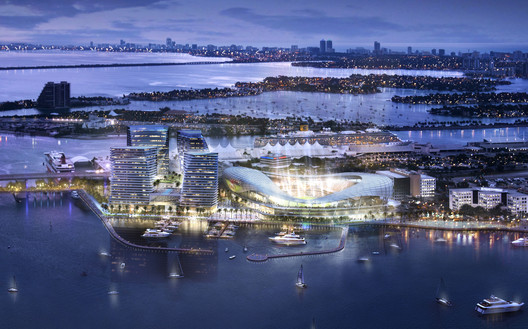 The original plans for a stadium at PortMiami are now unlikely to be built. Image © 360 Architecture and Arquitectonica