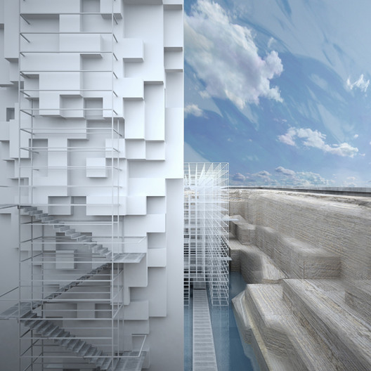A view of the back of the museum's monolith. Image © GM Architects