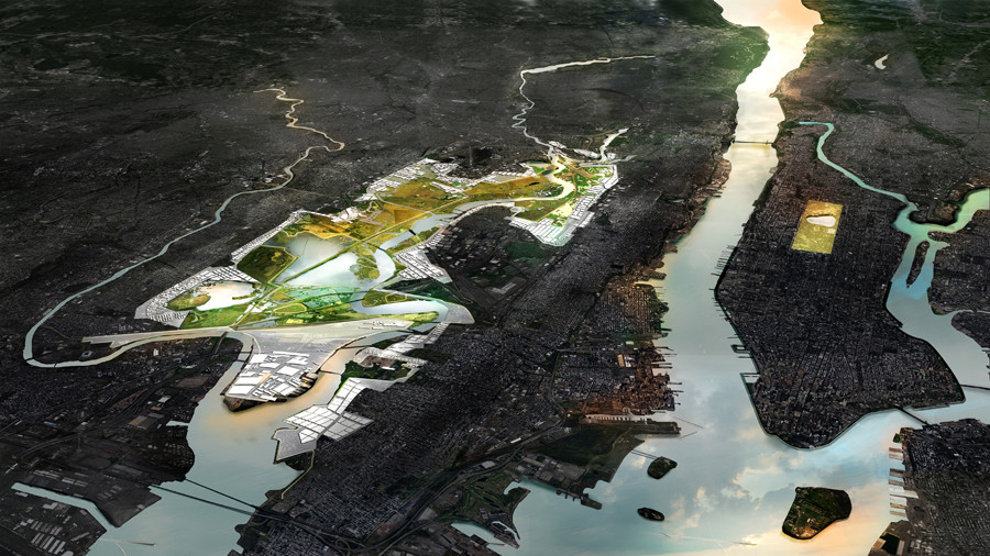 New Medowlands: Productive City + Regional Park, by MIT CAU, ZUS, Urbanisten. Image Courtesy of rebuildbydesign.org