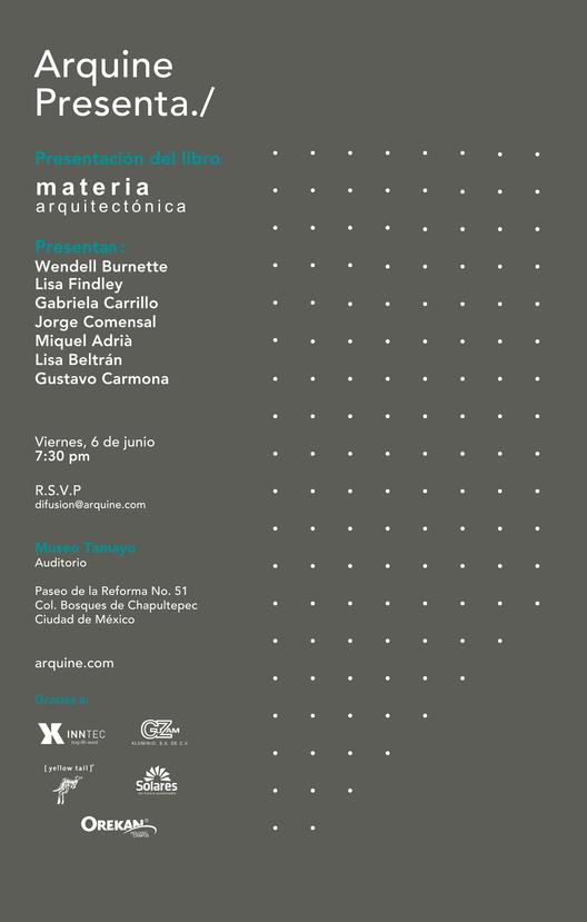 "Presentación del Libro ""Materia Arquitectónica"""