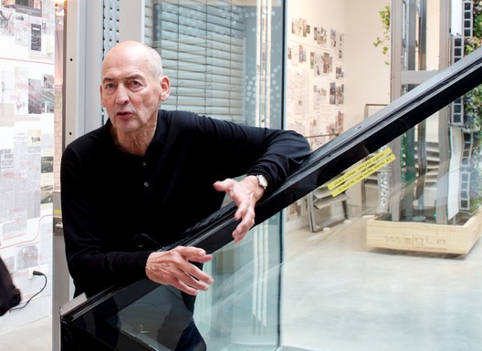 Rem Koolhaas at the preview of the Elements exhibit © ArchDaily