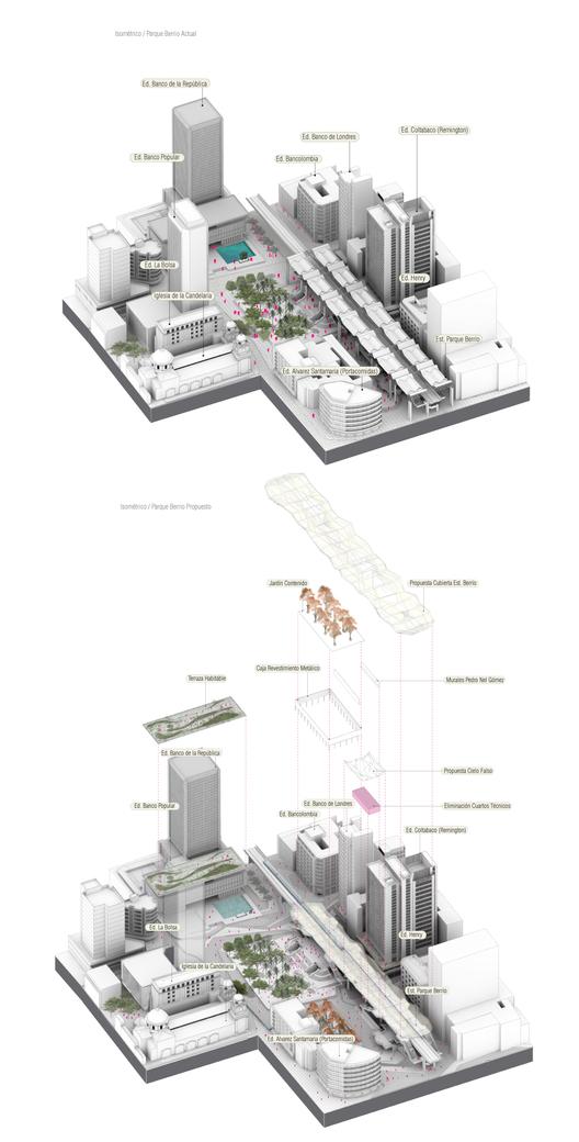 Existente/Propuesto: Parque Berrío. Image Courtesy of célula / María Paula Vallejo Arquitectura