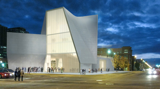 View of the ICA from the corner of Broad and Belvidere Streets. Image Courtesy of Steven Holl Architects