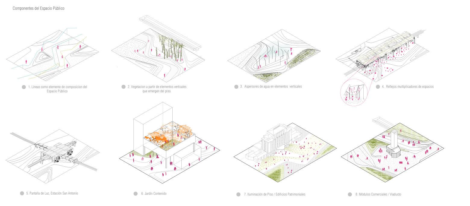 Elementos del espacio público. Image Courtesy of célula / María Paula Vallejo Arquitectura
