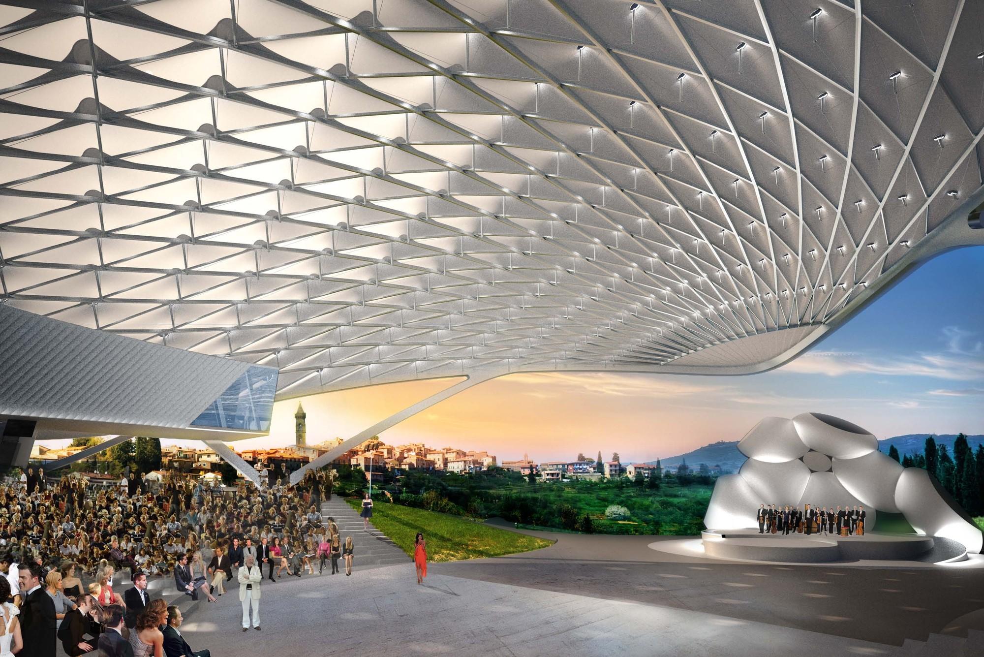 Vista del toldo. Imagen Cortesía de Asymptote Architects
