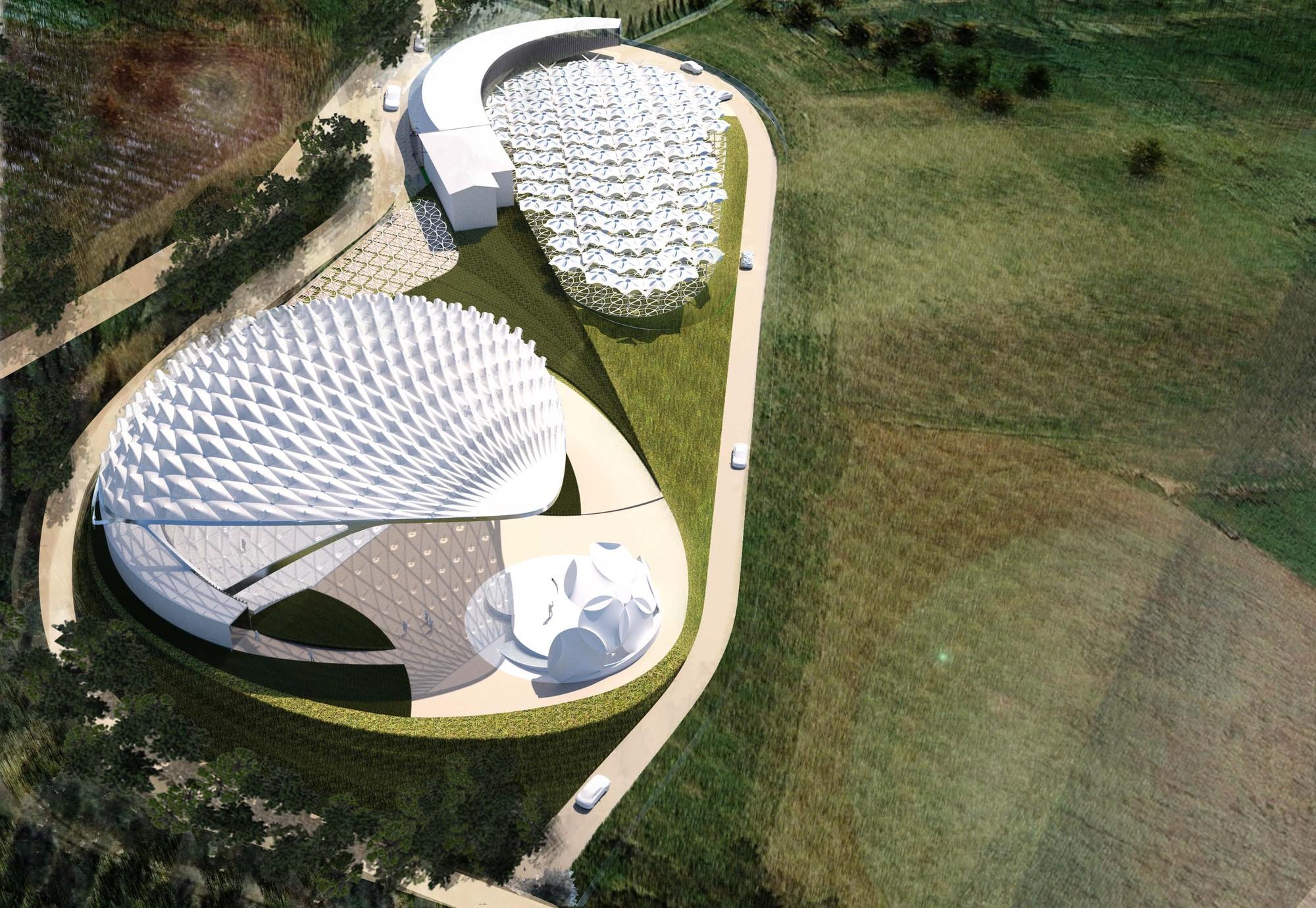 Vista aérea. Imagen Cortesía de Asymptote Architects