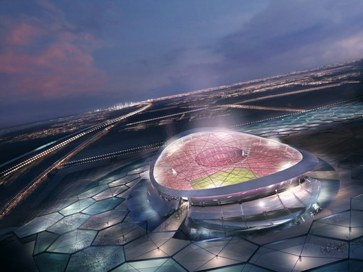 Foster + Partners' design for the 'Lusail Iconic Stadium' which formed part of Qatar's initial bid.. Image © Foster + Partners