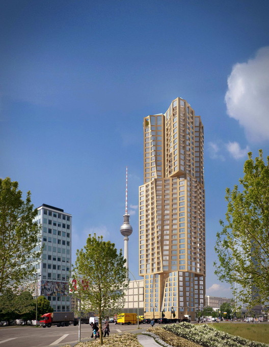 Gehry Partners' winning design for the residential building on Alexanderplatz. Image © Gehry Partners, Courtesy of Hines