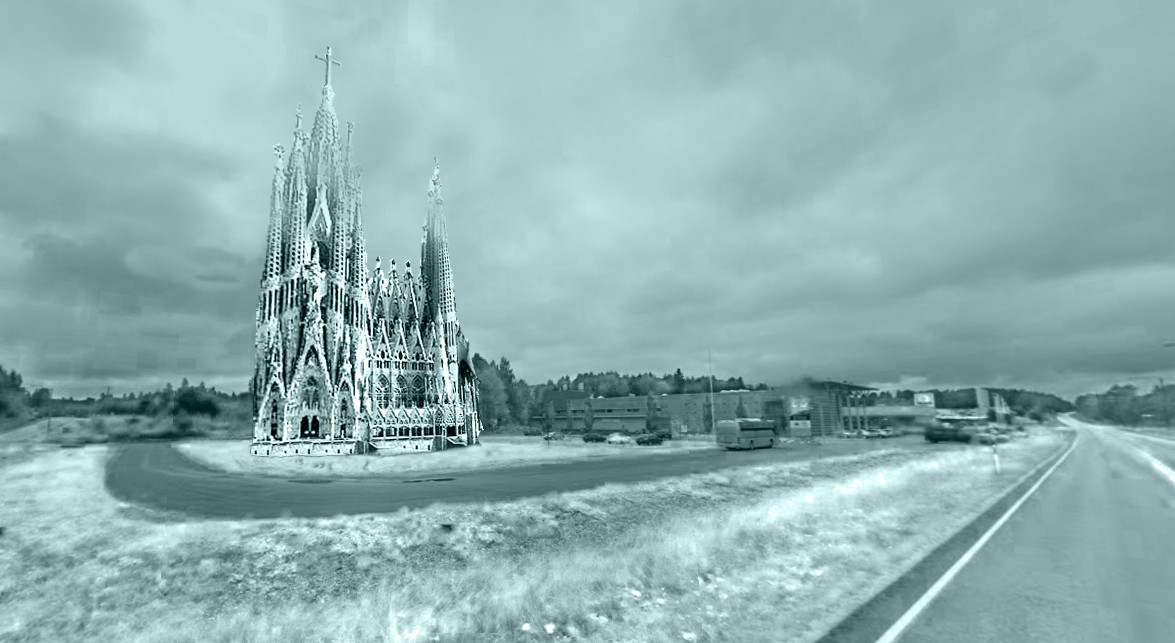 Dutch Students To Build Gaudí's Sagrada Familia From Ice, Montage. Image Courtesy of Eindhoven University of Technology