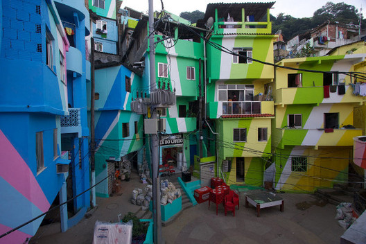 The Dutch duo of Haas and Hahn are known for enlivening favelas by painting them in bright colors.