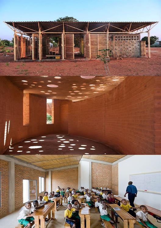 3 Proyectos que transforman materiales low-tech, en diseño innovador, Arriba: Edificio educacional en Mozambique / Bergen, Escuela de Arquitectura. En el centro: Biblioteca escolar Gando  / Kere Architecture. Abajo: Escuela básica Umubano / MASS Design Group