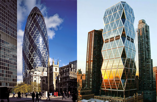 "Gherkin, left. Hearst Tower, right. ""Norma Foster's Hearst Tower in New York seems less at home than does Britain's 'Gherkin' in London"""