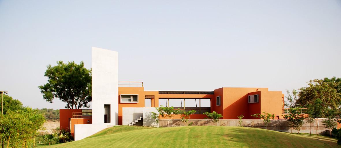 Emerging Practices in India: Indigo Architects, NW from site entrance. Image Courtesy of Indigo Architects, Ahmedabad