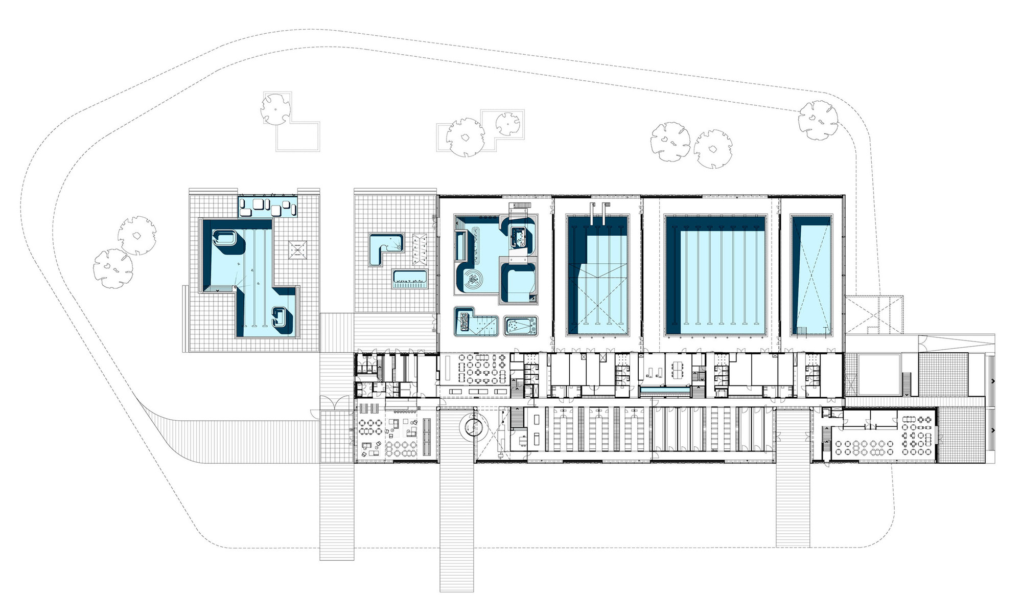 Multifunctional swimming pool complex de geusselt for Swimming pool design layout