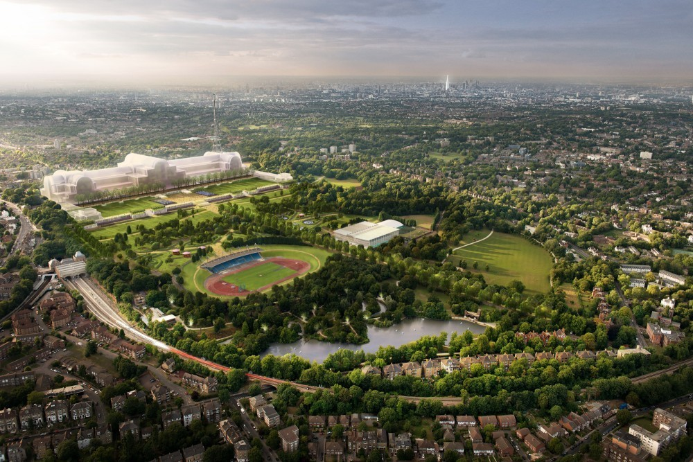 Crystal Palace Rebuild Runs Into Delays, Aerial view of the outline proposal by the developer. Image Courtesy of ZhongRong Group