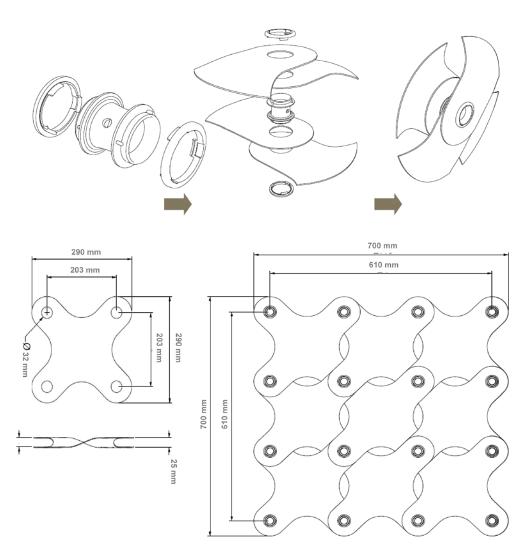 Conectores para láminas modulares / Modelo ditto