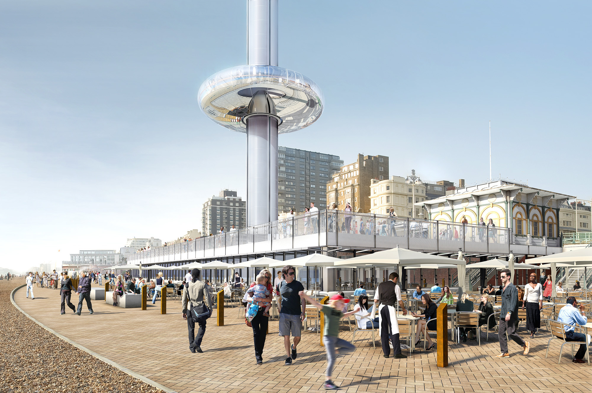 Beachfront Observation Tower Confirmed for the British City of Brighton, Visualisation. Image Courtesy of Marks Barfield Architects / i360 Brighton