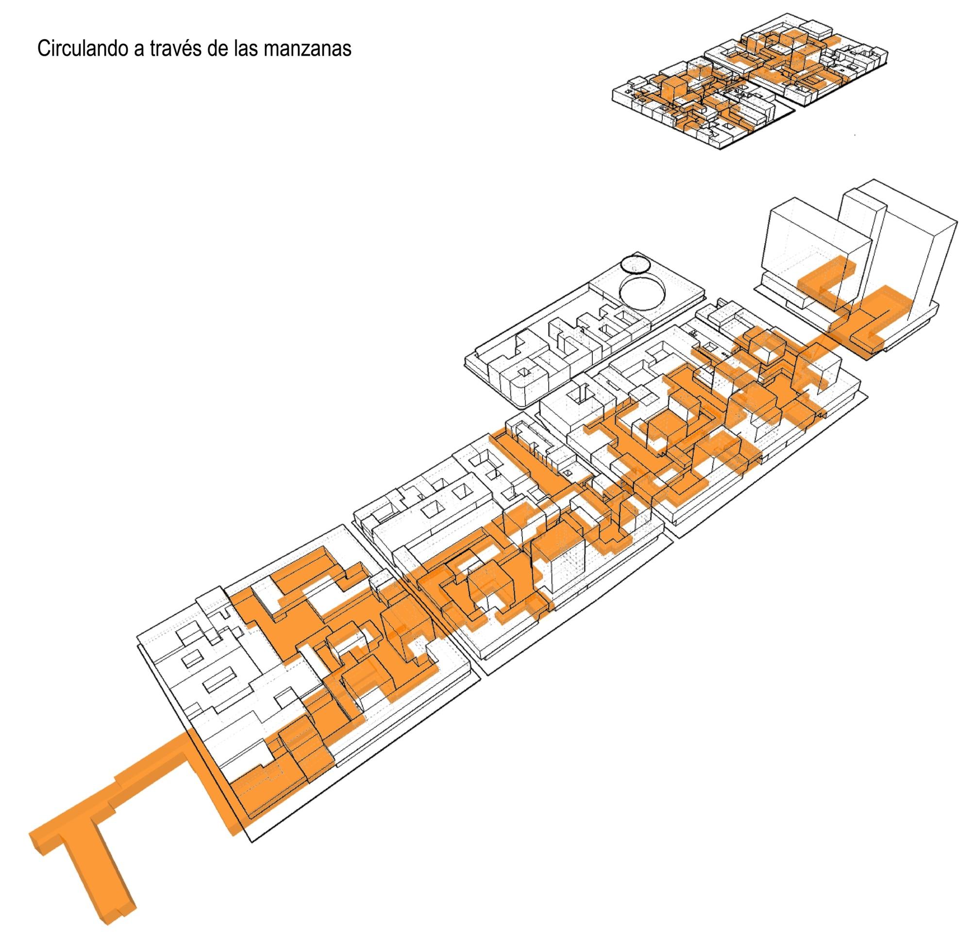 'Circulación a través de las manzanas'. Image Courtesy of JAC Arquitectos