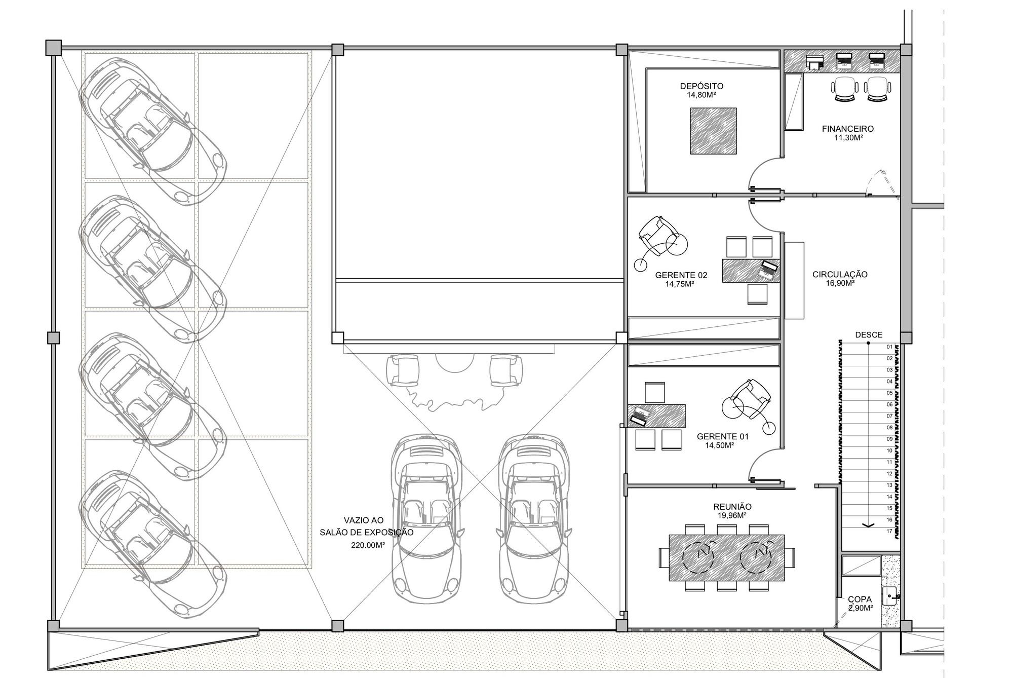 Gallery of showroom eurobike porsche 1 1 arquitetura for Floor plan furniture store