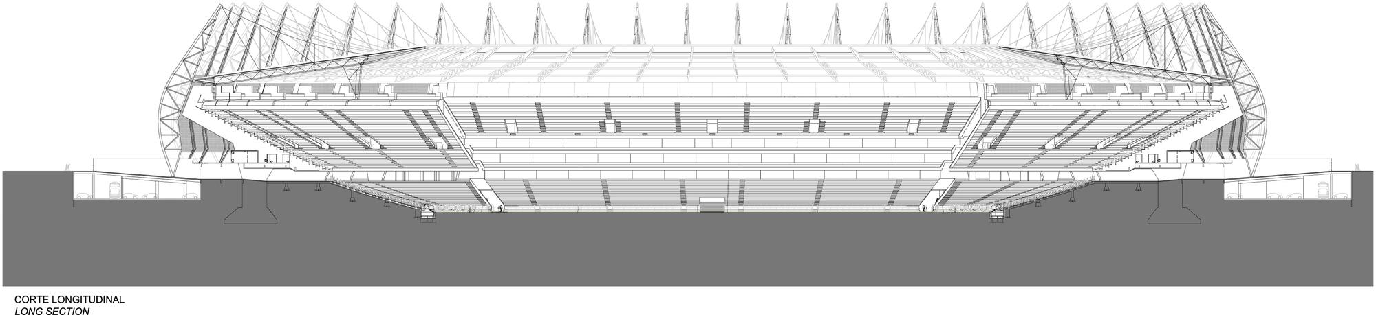 Arena Castelão / Vigliecca&Associados. Corte Longitudinal