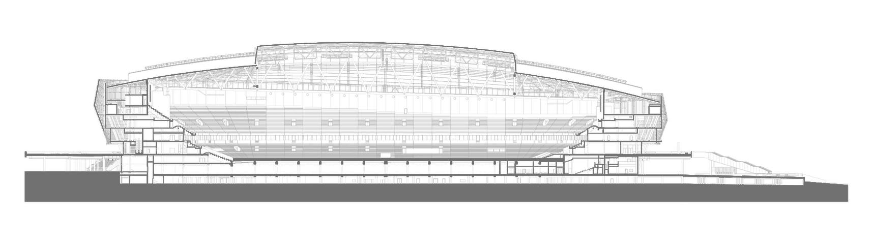 Arena Tele2 / White arkitekter. Corte Longitudinal