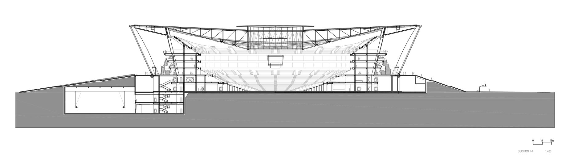 Estadio de Baloncesto en Dongguan / gmp architekten. Corte Longitudinal