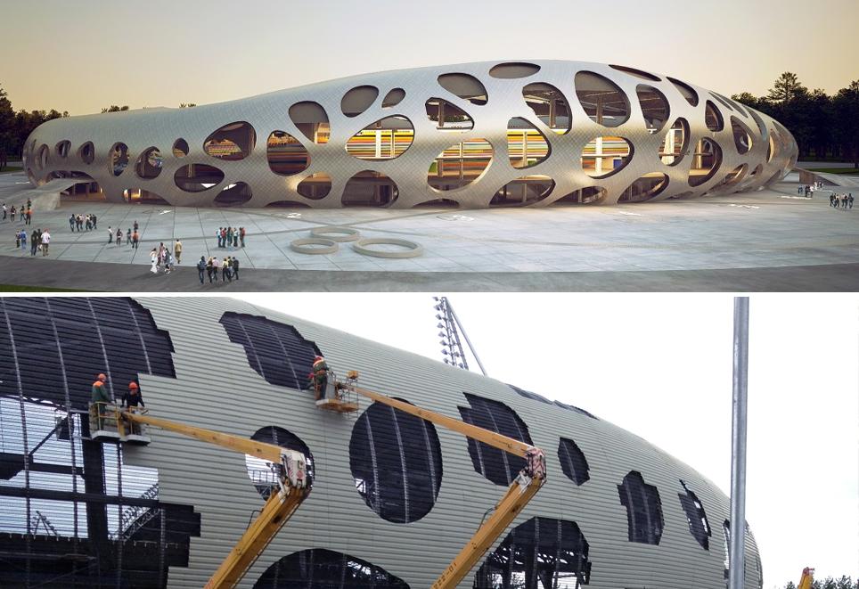 Estadio de Fútbol Borisov / OFIS Architects. Image © Rok Gerbec