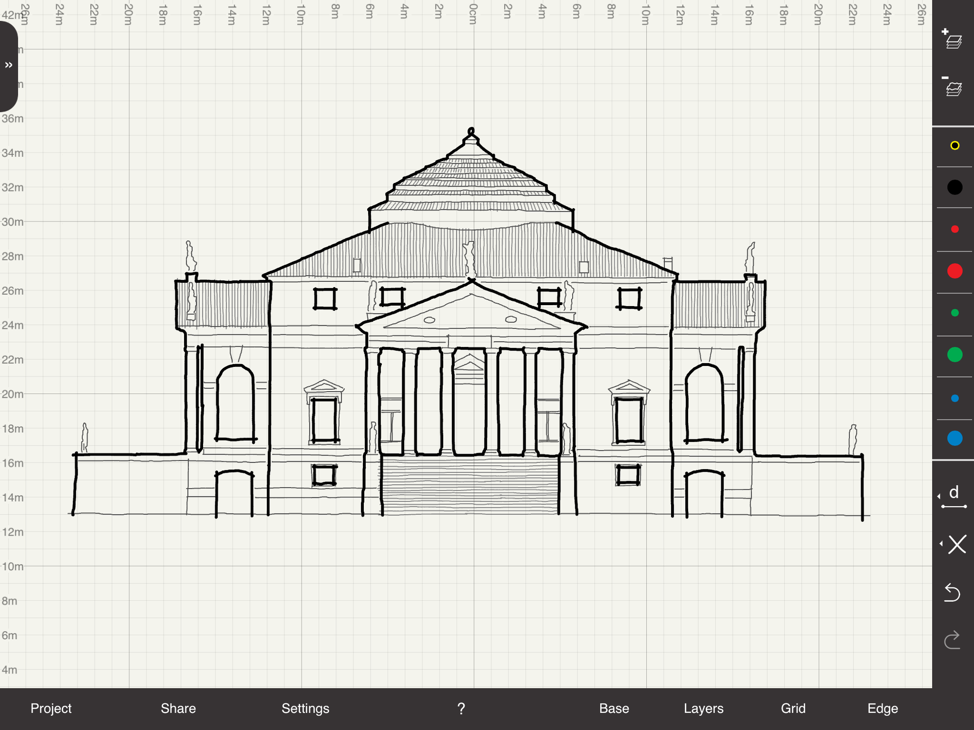 App Review: Arrette Scale - Precision Scale Drawing, Palladio's Villa Rotunda. Image Courtesy of Arrette Scale