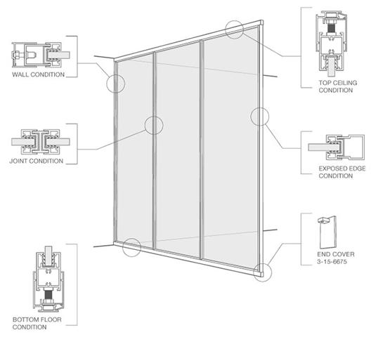 Elemento separador con marco / muro expuesto
