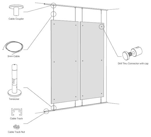 Elementos separadores suspendidos