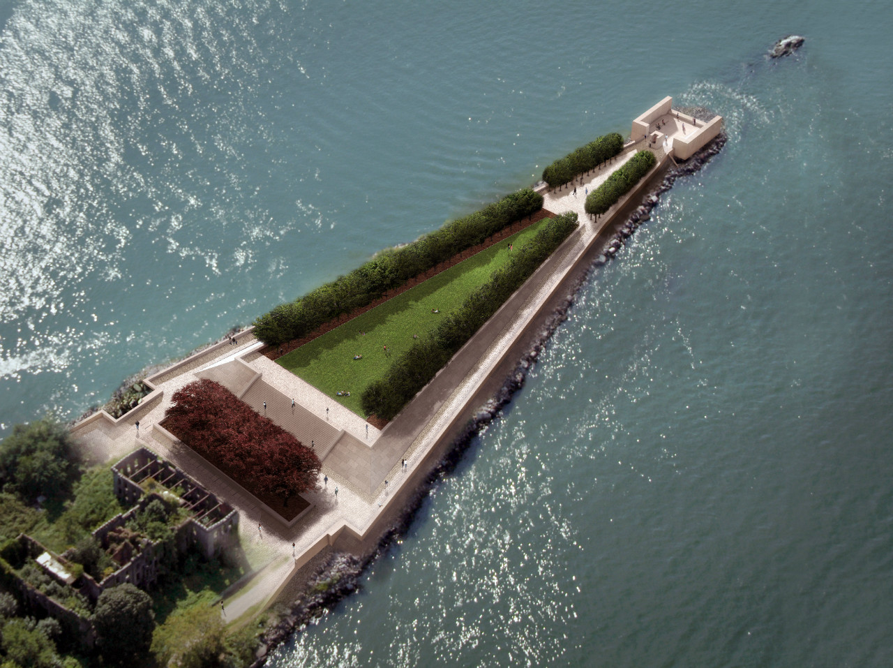 "Four Freedoms Park: Louis Kahn's ""Ancient Temple Precinct"" in NYC, Aerial Rendering Prior to Completion. Image Courtesy of Franklin D. Roosevelt Four Freedoms Park, LLC"