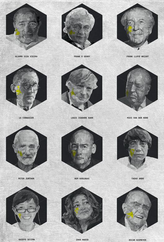 Arte y Arquitectura: CARA, una serie de arquitectos ilustrados con la técnica de la triangulación, Courtesy of Yannick Martin