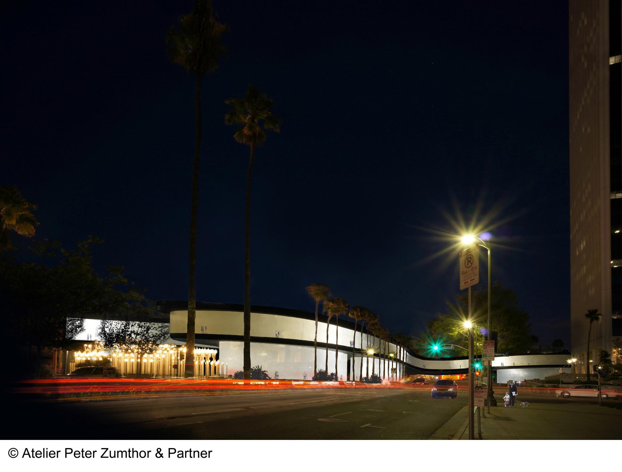 Render de la vista oriente por el Wilshire Boulevard. Imágen © Atelier Peter Zumthor & Partner