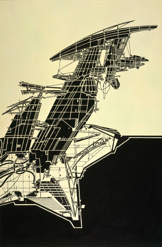 Exhibition: Lebbeus Woods, ON-line, Aerial Paris. 1989. Copic Marker on tracing paper on board, 815 × 507 mm © Estate of Lebbeus Woods