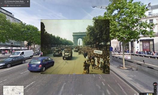 Fotografías históricas de la Segunda Guerra Mundial en Google Street View, Campos Elíseos, Paris