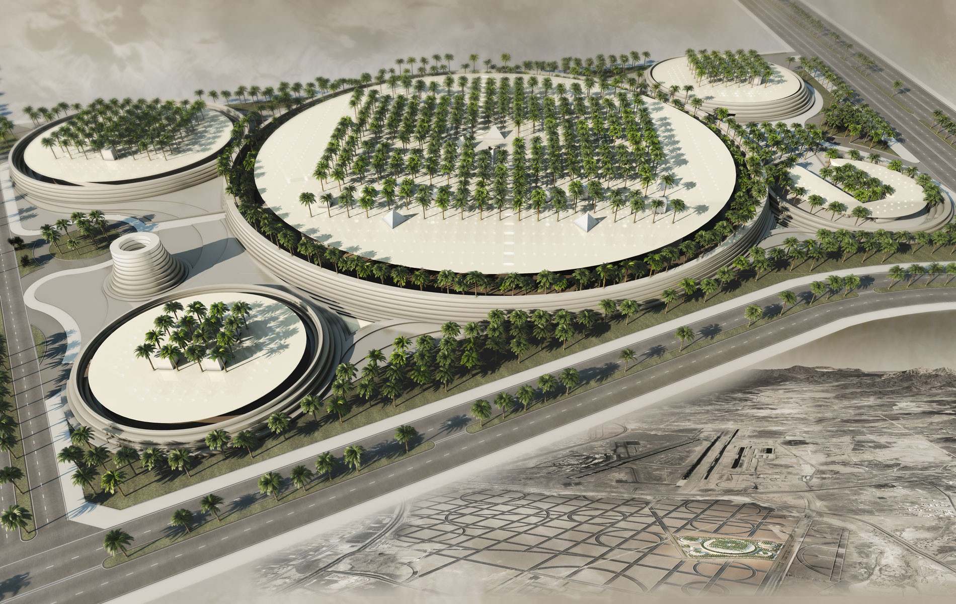Ricardo Bofill's Winning Proposal for the The Noble Qur'an Oasis Competition, Noble Qur'an Oasis in Medina, Saudi Arabia. Image Courtesy of Ricardo Bofill Taller de Arquitectura